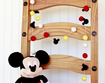 Disney, Mickey Mouse, Birthday Felt Ball Garland, Pom Pom Garland, Nursery Decor, Bunting Banner, Party Decor, Baby Shower