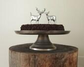 Silver Deer Wedding Cake Topper, Bride and Groom, Woodland, Rustic Wedding