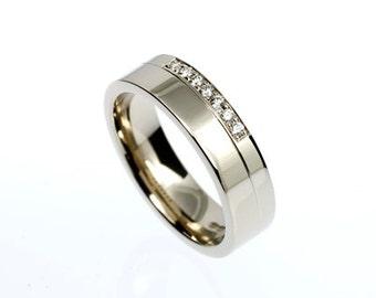 Diamond wedding band, white gold ring, modern wedding band, modern diamond ring, engagement ring, women wide ring, unique, half eternity