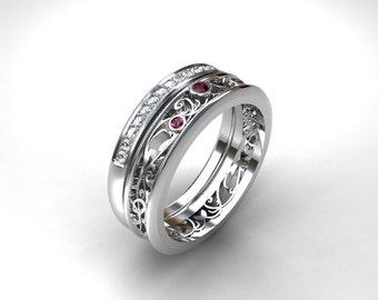 engagement ring set, Filigree ring, pink sapphire, wedding band, filigree engagement, pave, diamond eternity, pink, sapphire engagement