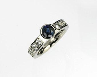 Blue sapphire engagement, Palladium, White sapphire, engagement ring, blue, solitaire, bezel, wedding ring, sapphire, Palladium engagement
