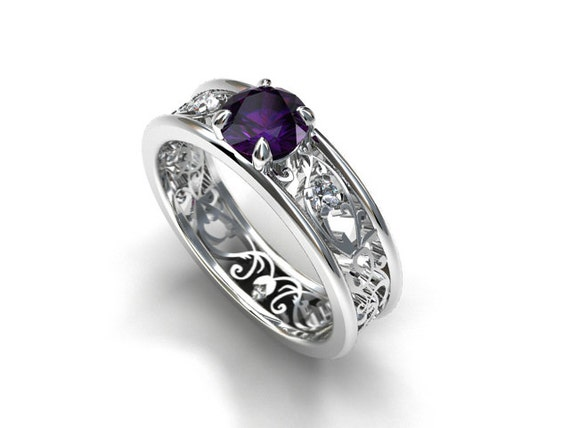purple iolite filigree engagement ring white gold ring unique diamond engagement ring - Purple Wedding Ring