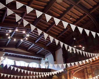 Ivory lace wedding bunting, lace vintage style garland