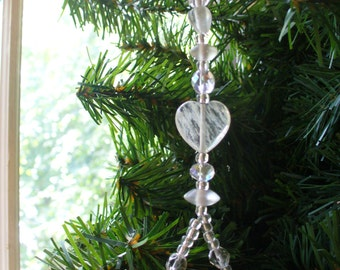 Christmas in July, Christmas Ornament, Glass Crystal Ornament, Christmas Dangle, Sun Catcher, Holiday Ornament, Holiday Dangle, Heart
