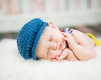 Baby Boy Hat 0 to 3 Month Denim Blue Baby Hat Irish Donegal Hat Ireland Donegal Cap Baby Boy Clothing Baby Boy Clothes Photography Prop