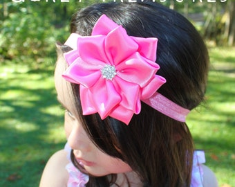Hot Pink Flower Headband. Baby Headband. Newborn Headband. Girl Headband. Infant Headband. Photo Prop. Women Headband.