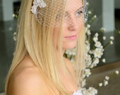 "Birdcage Veil, Millinery Netting and Lace Headpiece - ""NEST"""