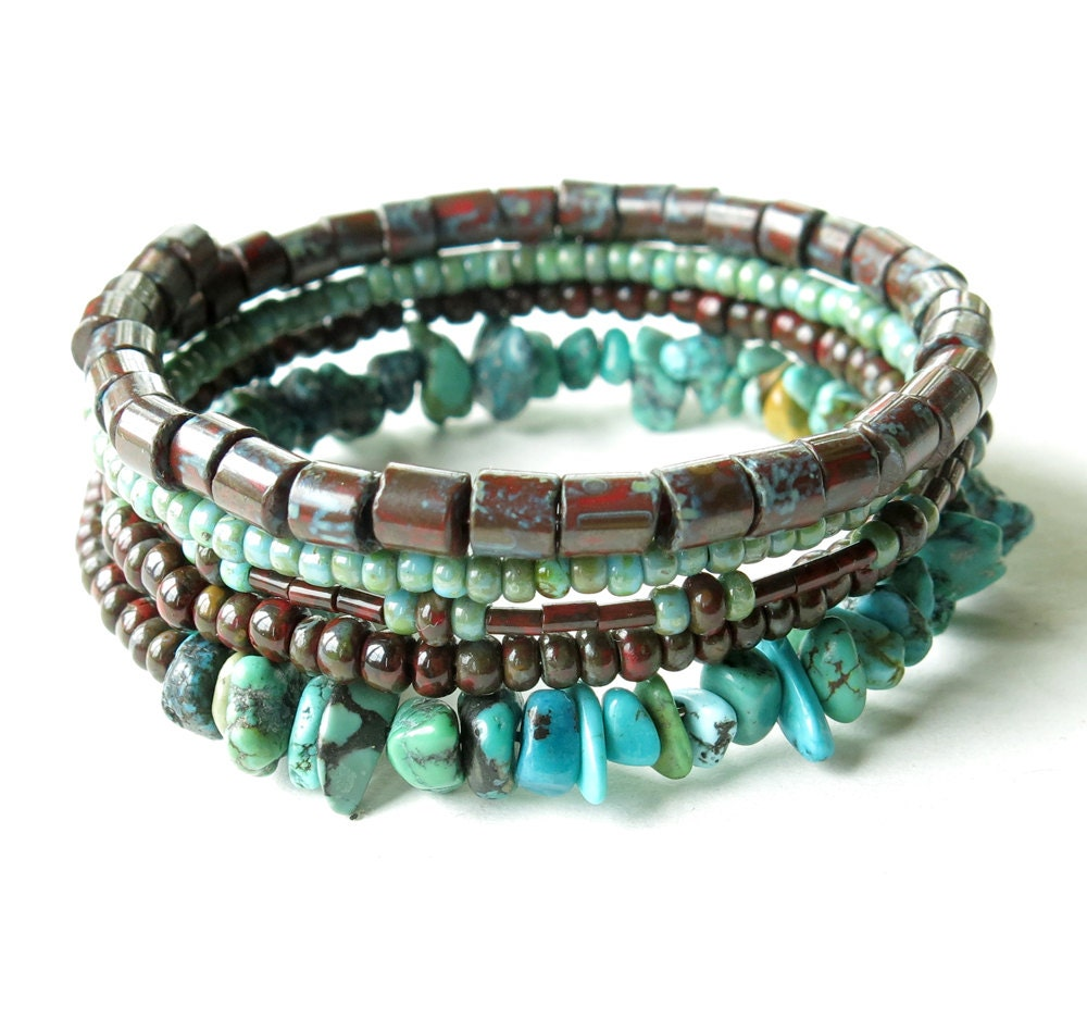 Beaded bracelet stack turquoise & red stacking bangles