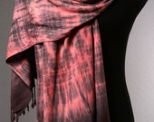 Salmon Red Scarf /Wrap/Shawl with Black Fringe // Hand Dyed Tie Dyed Boho Shibori Scarves