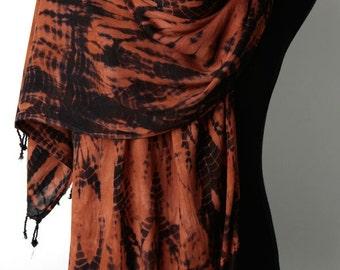 SALE • Use 40% Off Coupon: HOLIDAY40 • Rust Scarf Shawl Wrap with Black Fringe. Hand Dyed Shibori Scarf Shawl.