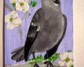 Mockingbird Dogwood ACEO Original Painting Acrylic Artwork Nature Animal Card