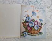 Birthday Card 1950's Vintage Ship with Morning Glories Paper Ephemera Unsigned with Envelope Made in USA A Birthday Card of Character