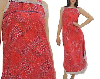 Hippie Dress Bandana Dress 70s cotton shift tent High waisted maxi long lace trim Red Scarf Print Handkerchief Vintage Medium