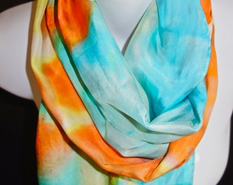 "Juicy Orange, Baby Bon Blue SILK SCARF for Women.  Hand Painted Silk Scarf by NYC artist Joan Reese / 100% Silk/""One of a kind"""