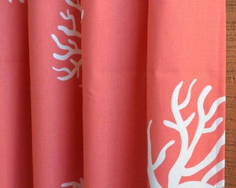SUMMER SALE! Beach House Curtains, Living Room Curtains, Nursery Baby Room Decor, Curtain Panels, Coral in Coral White shown
