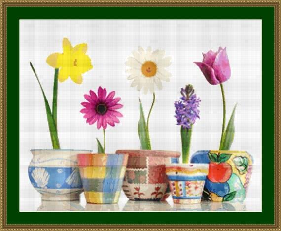 Flowers In Pots Cross Stitch Pattern /Digital PDF Files /Instant downloadable