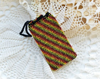 Knitted beaded brown, red, orange,yellow and green cell phone bag -Beaded  iphone case -  Crochet iphone case