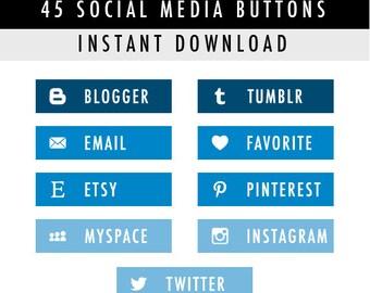 45 Rectangular Blog Social Media Buttons for Blog/Website/more - Instant Download - Blue Pack