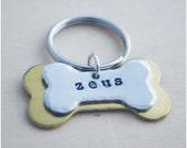 Customized Pet Tag - Dog I.D. - Pet I.D. - Dog Bone - Aluminum Brass - Hand Stamped - Pet Id - Lost Dog