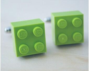 Dad Cuff Links With Lego Bricks - Father's Day 2017 - Lime Green Lego Cufflink - Trendy Accessory