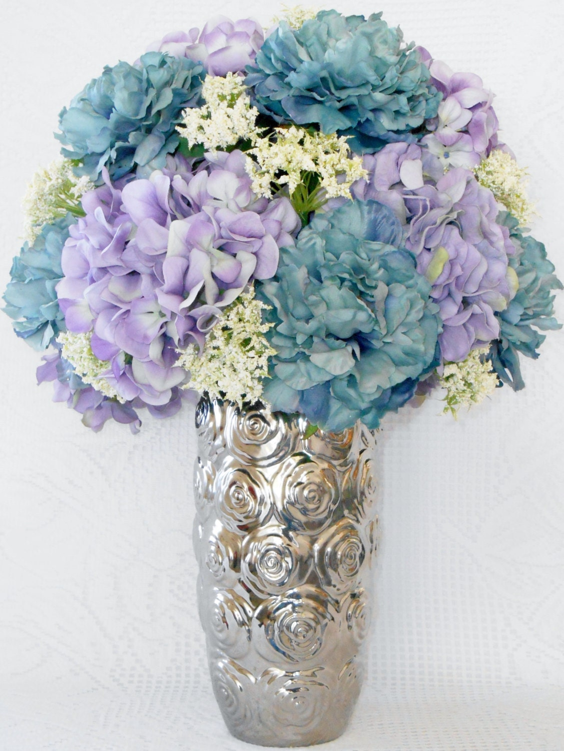 Artificial Flower Arrangement Teal Peonies Lavender