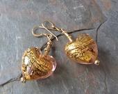 Gold Foil Venetian Glass Dangle Earrings in Pink Amethyst, Hearts, Handmade