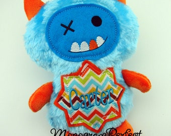 CARTER - Already Personalized  Bright Blue & Orange Monster Stuffed Plush Doll - Ready To Ship