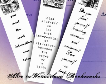 Alice in Wonderland Bookmarks - Black and White - Five Printable Bookmarks - Through the Looking Glass