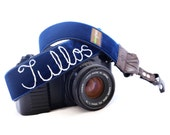 Embroidered Personalized Camera Strap with Quick Release Buckles --  7 Velvet Colors to choose from