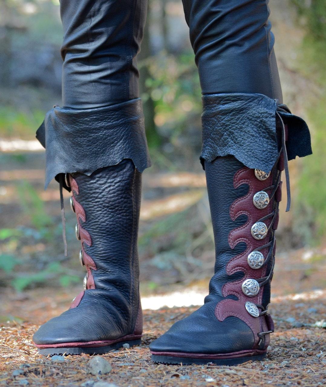knee high custom viking boots with cuff custom buffalo