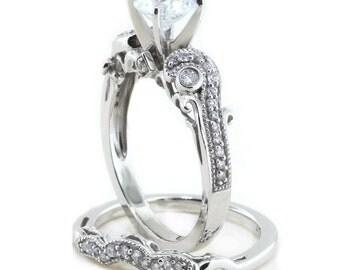 Moissanite Wedding Set  Engagement Ring and Wedding Band Diamond Side Stones 14k Gold  Ring Name  Seeds of Love