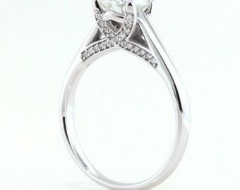 Solitaire engagement ring diamond accent stones 14k or 18k gold platinum or palladium moissantie ring custom jewelry