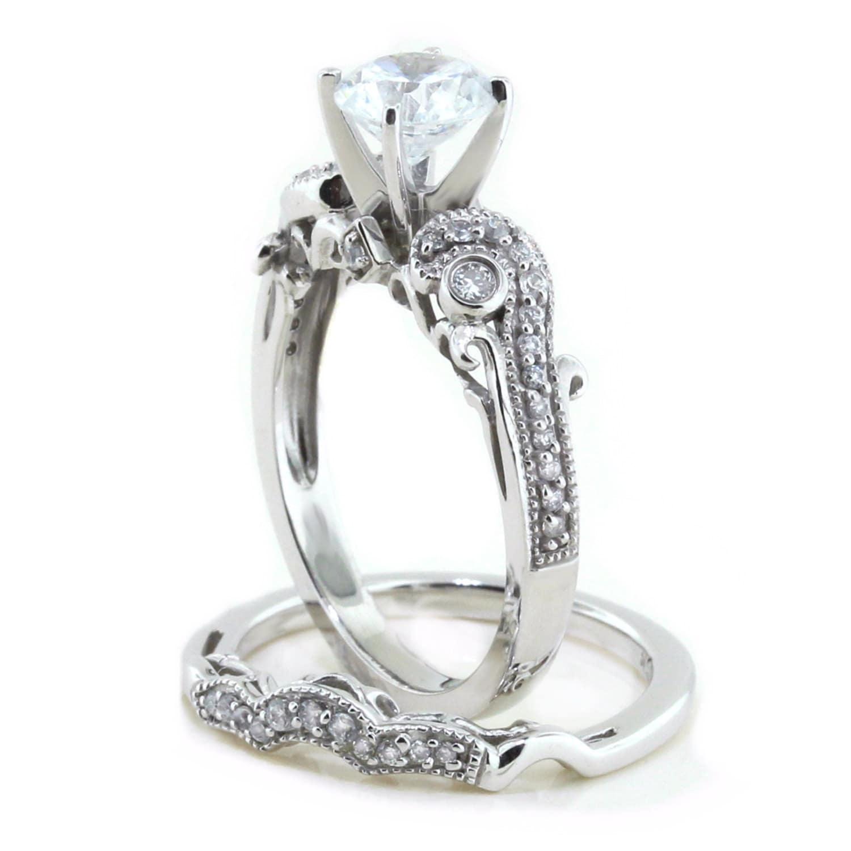 moissanite wedding set engagement ring and wedding band