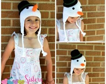 Crochet Snowman Hat Earflap Beanie, Winter Hat, Snowman with Tophat, Newborn, Baby, Infant, Toddler, Child, Photo Prop, Newborn Photography