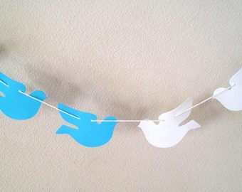 White and blue doves - Bird garland, white doves wedding garland - Baptism - Christening - dove garland - first communion