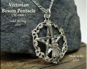 Sterling Silver Broom Pentacle Pendant, .925 Silver Pagan Wedding Gift - Witch's Besom Pentagram Necklace, Witchcraft Broom Jewelry SE-0508
