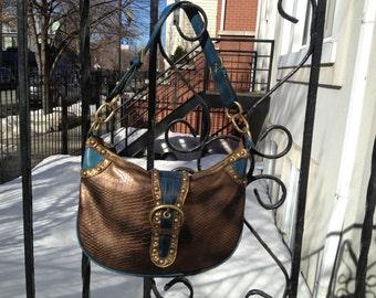 Bronze and Teal Faux Snakeskin and Leopard Fur Bag 90s Glam Rocker