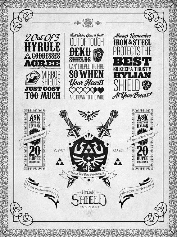 "Legend of Zelda The Hylian Shield Foundry - signed museum quality giclée fine art print 16"" x 20"""
