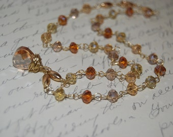 Crystal Amber Champagne Color Wire Wrap Necklace