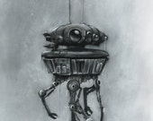 Probe Droid - Star Wars - signed museum quality giclée fine art print Charcoal & Pastel