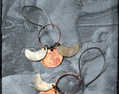 Triple moon phase earrings with mixed metal, copper and brass, flame oxidised, sterling silver ear wires.