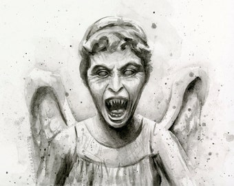 Weeping Angel Watercolor Doctor Who Wall Art Weeping Angel Print Doctor Who Print Painting Don't Blink Sci-Fi Giclee Wall Decor Whovian Art