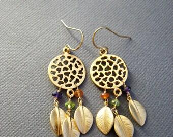 Dream Catcher Earrings, boho chic, dangle earring, gemstone earrings, leaf nature jewelry, Gold earrings, muse411