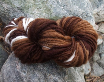 Hand spun yarn - natural alpaca, in 5 shades - thick and thin - 5 oz. - 88 yards