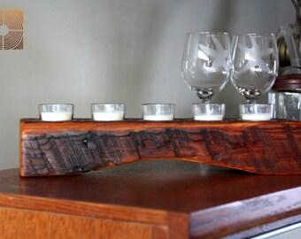 Personalized Candle Holder- Rustic Wood Votive Candle Holder-  5 Glass Votives with Candles Included holder- Unique Home Decor
