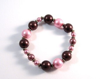Pink & Chocolate Brown Stretch Bracelet.Candy Pink Jewelry, Brown Jewelry, Bridesmaids Jewelry, Antique Brass Jewelry, Womens Fashion, Gifts