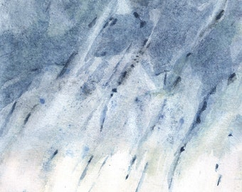 "Contemporary abstract watercolor. Blue painting. 5.7""x7.5"""