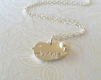 Auntie Necklace-Thai Silver Chick Charm Hand Stamped with  Auntie -Gift for Aunt/Auntie Gift/Aunty