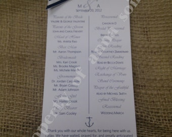PROGRAMS - NAUTICAL BEACH Theme Wedding Ceremony Programs with Specialty Ribbon - Personalized Color and Motif at no extra charge