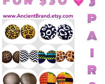 Pick Any 3 Pair of Extra Oversized 1 7/8 Button Earrings for 30